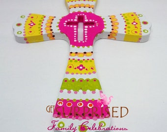 PINK WOODEN CROSS, Pink/Yellow decorative baby crib cross. Hand painted wall cross, Communion favor, wedding gift, baby room decoration.