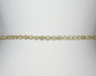 Gold Wedding Belt, Bridal Belt, Thin Wedding Sash, Bridal Sash, Flower Girl Dress Belt, Bridesmaid Sash, Crystal Rhinestone Sash Belt, EMMA