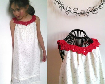 Dress for girl in cotton and his Cheung collar lace crochet / girl for processions and ceremonies dress / summer sleeveless dress