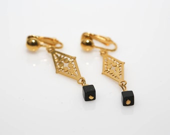 Gold Filigree Clip Earrings