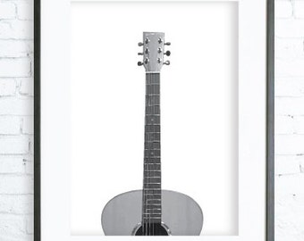 Guitar Art, Black and White View Poster, instant Download Printable, Digital print, Print, Photography, Gallery Wall