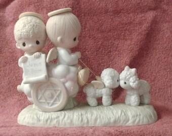 "Vintage Precious Moments Figurine - ""Jesus Is Born"" - RARE - Suspended 1984"