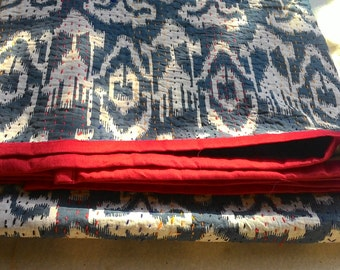 Ikat Print Handmade Kantha Quilt / Throw/ Blanket / coverlet/ light quilt/ India boho/ hippie/ chic/ housewarming/ tribal/ ikkat customized!