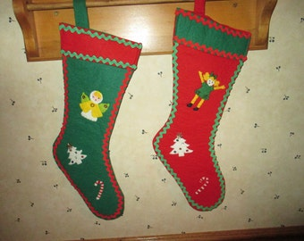 2 Vintage  Felt Christmas Stockings, Matching, Hand Crafted, pristine, 1950's ,can still be personalized!!