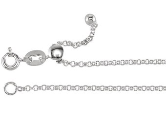 Sterling Silver Adjustable Rolo Chain 1.5mm Wide, Jewelry or Necklace Making Supplies
