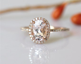 14k Rose Gold Engagement Ring With Classic Oval Cut 6*8mm Morganite Pave Diamond Wedding Ring Gemstone Ring Morganite Engagement Ring