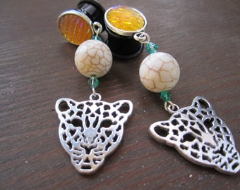 """The Fast Cat dangle stretched leopard earrings cheetah EAR PLUGS pick the gauge size 2g, 0g, 00g, 7/16"""", 1/2"""", 9/16"""" aka 6, 8, 10, 12, 14mm"""