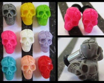 Pastel Skulls on a Stainless Steel colorful Skeleton EAR TUNNELS you pick the color and plug gauge size - 12g, 8g, 6g aka 2mm, 3mm, 4mm