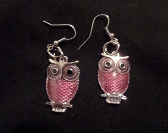 Maroun Owl Earrings, Silver Owl Earrings, Handmade Jewelry, Bird Jewelry