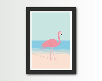 Flamingo Print - flamingo illustration A4- art print - wall art - home decor - flamingo illustration