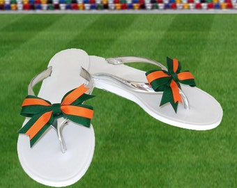 Orange + Green Bow Jelly Sandals