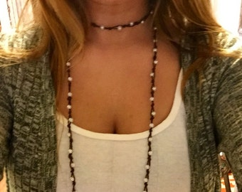 Small pearl knot double wrap necklace