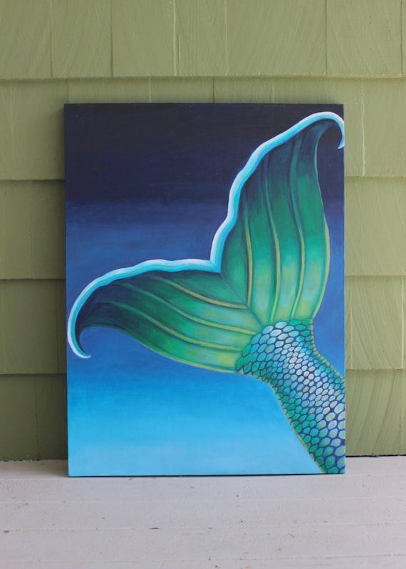 undersea mermaid tail contemporary painting original canvas