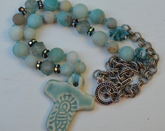 Lady of Guadeloupe cross with amazonite - AtHomeInToas - DayLilyStudio