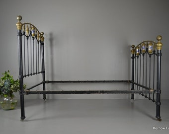 Antique Victorian Cast Iron Double Bed Frame Bedstead
