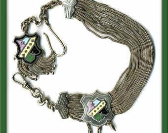 Victorian Gentlemans Enamel & Silver Watch Chain. fbvc103(e)
