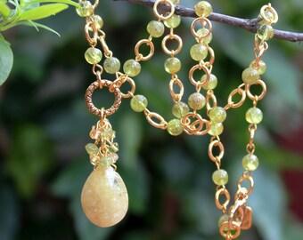 Multi Gemstone Pendant Necklace.Yellow Sapphire.Green Peridot.24K Gold plated.Green.OOAK.Statement.Multi Colors.Bridal.Luxury. Handmade.