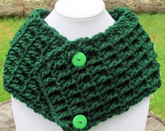 Crochet Waffle Stitch Cowl Scarf Neckwarmer With Buttons In Green Ready to Ship