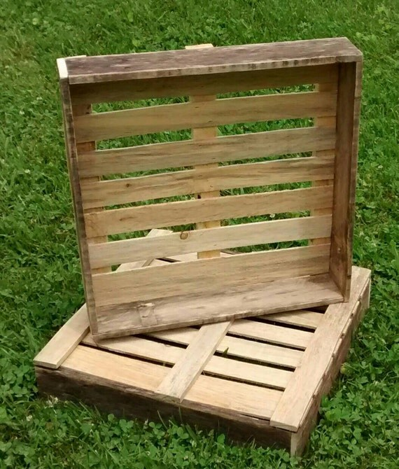 "Large Repurposed Wood Crate, 18"" x 18"" x 4"", Wooden crate, Tabletop display, Wood storage box"