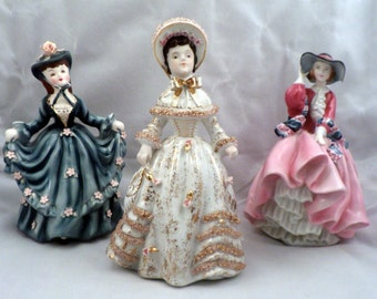 3 Porcelain Lady Figurines circa 1950's, Geo Lefton & Others