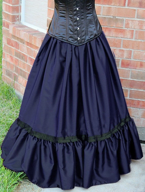 Victorian Skirts | Bustle, Walking, Edwardian Skirts Victorian Skirt with Ruffle Navy Blue Black Gothic Steampunk Cosplay S M L XL XXL 3XL Edwardian $99.99 AT vintagedancer.com