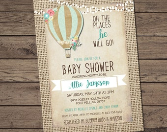 Burlap Hot Air Balloon Baby Boy Shower Invitation, Shabby Chic, Blue _148