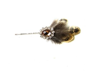 Silver Brown Feather Hair Clip Fascinator Bridesmaid Headpiece Vintage 1920s Y64