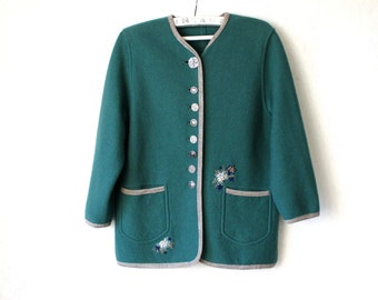 Vintage Sea Green Gray Wool Jacket Boiled Wool Cardigan Large Size