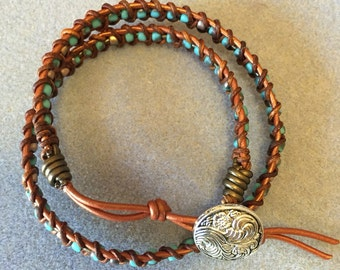 Beaded Leather Woven Bracelet
