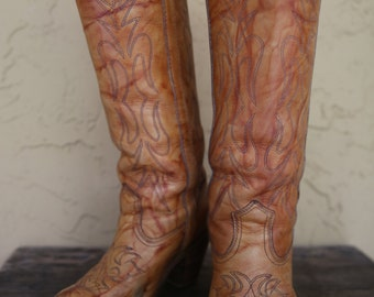 Vintage Miss Capezio Cowboy Cowgirl Southwestern Tan Marbled Stitched Knee High Boots  8.5M