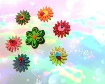 Lady bug & flower glittery magnet, magic, glitter, flowers, Lady bug's