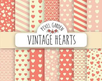 Retro Hearts Digital Paper. Vintage Valentine's Day Scrapbook Paper. Love, Romance Printable. Pink Heart Digital Pattern. Mother's Day Paper