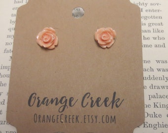 Tiny Rose Peach Earring Post