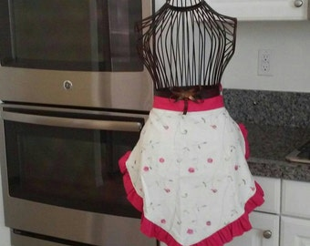 Reduced price, ready to ship!  Woman's one of a kind pink and white floral half apron!