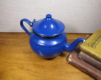 Small Blue Enamelware Teapot