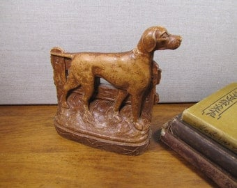 Vintage Wood Resin Bookend - Pointer At Fence