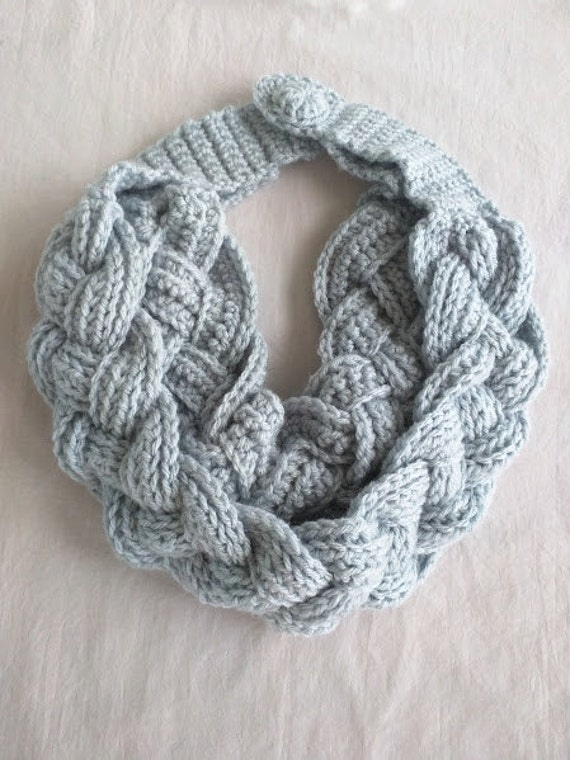 Crochet Double Layered Braided Cowl in Silver by WithLoveByAnne