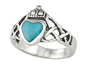 Sterling Silver Claddagh Ring with 5mm Genuine Turquoise (R397-T)