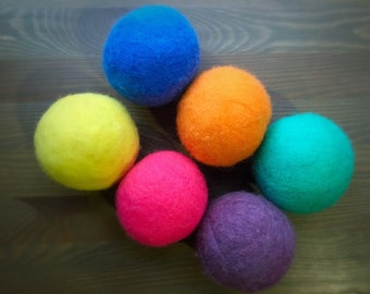 Ovella Wool Dryer Balls: The Doces Collection - set of Six (6) Bright, colorful, solid, orange, pink, blue, green, purple, yellow, red
