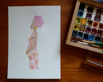 Original painting - Watercolor of a pregnant african woman
