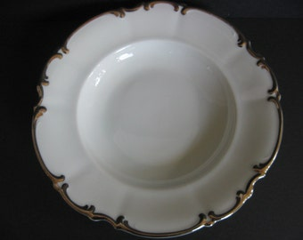 Hutschenreuther China,Vintage China,Rim Soup Bowl,White China,Platinum Trim, Revere Pattern,Silver ToneTrim