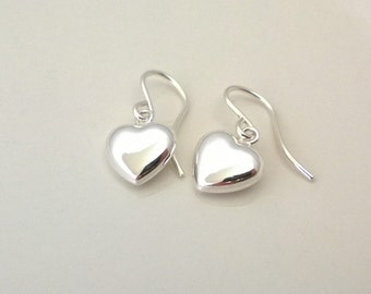 Sterling silver heart earrings; simple silver earrings; puffed heart earrings; 3D heart earrings; romantic sterling silver heart earrings