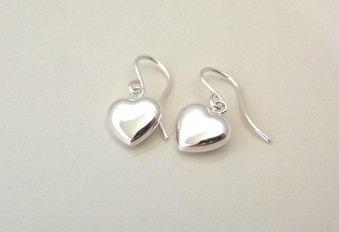 Sterling silver heart earrings simple silver earrings puffed