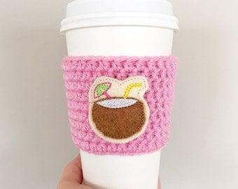 Coffee Cozy Crochet Sleeve Mason Jar Cozy Pink