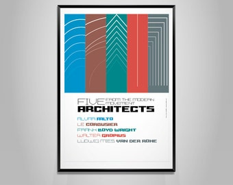 Archiposter tribute - 5 modern architects - Poster