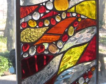 Fiery Fall Stained Glass Panel Window Suncatcher OOAK newly created fall autumn