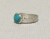 Hammered turquoise sterli...