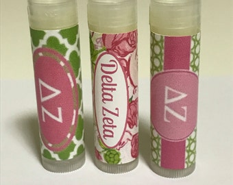 3 Delta Zeta  Sorority Design Lip Balms Personalized 5 flavors, All Natural