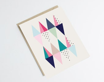 """Graphic postcard """"TRIGONE"""" - scandinavian style - design - colorful triangles - birthday - greetings - wishes"""