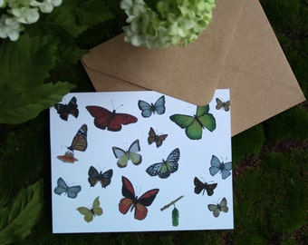 Greeting card, without text, butterflies
